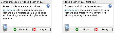Para usar a webcam e o microfone, você deve clicar em 'Permitir' (ou 'Allow', no caso da mensagem em inglês)
