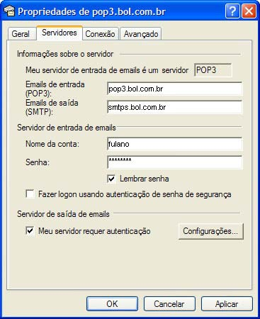 Na nova janela, clique na aba 'Servidores' (Servers) e selecione a op��o 'Meu servidor requer autentica��o'