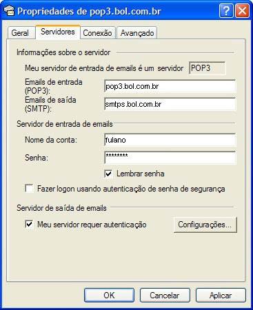 Na nova janela, clique na aba 'Servidores' (Servers) e selecione a opção 'Meu servidor requer autenticação'