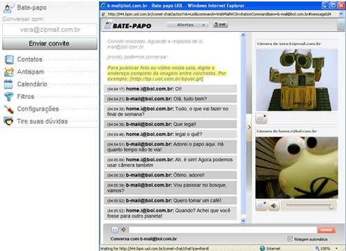 Digite o e-mail do destinatário pelo menu lateral do webmail, clique em 'Enviar convite', e uma sala de bate-papo instantâneo será aberta, com transmissão de imagens